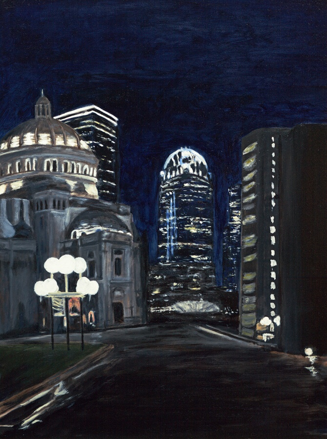 """Boston at Night"" 16×20 Oil Painting"