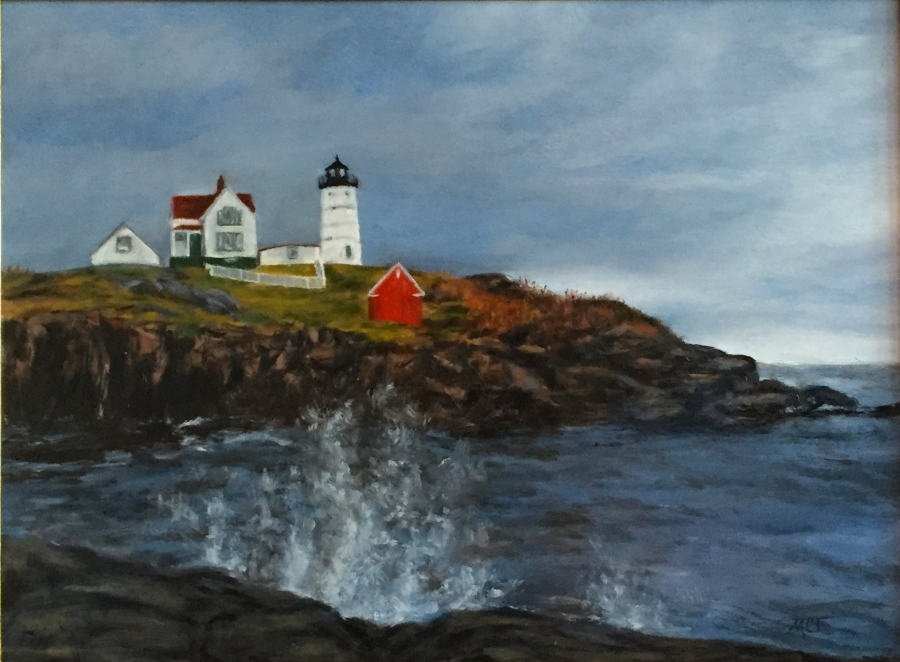 """Nubble Lighthouse"" 16×20 Oil Painting"