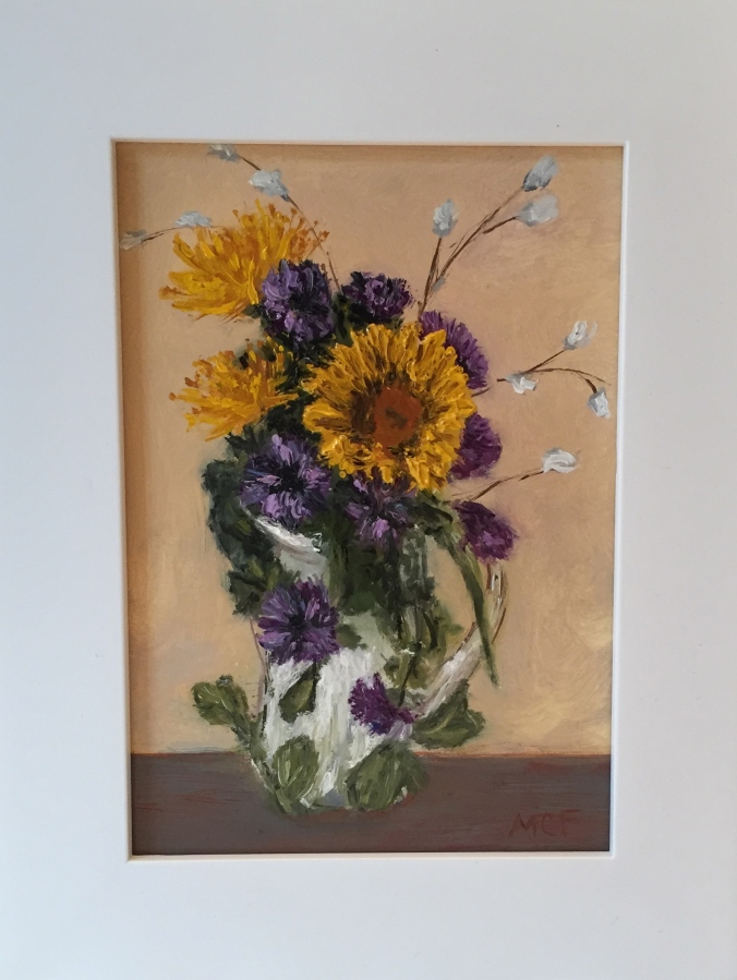 """It's what the sunflowers do"" 7×5 Oil Painting"